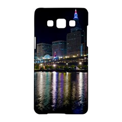 Cleveland Building City By Night Samsung Galaxy A5 Hardshell Case  by Amaryn4rt