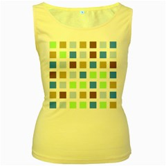 Colorful Green Background Tile Pattern Women s Yellow Tank Top