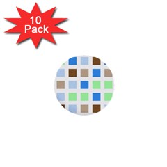Colorful Green Background Tile Pattern 1  Mini Buttons (10 Pack)