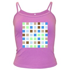 Colorful Green Background Tile Pattern Dark Spaghetti Tank