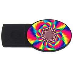 Colorful Psychedelic Art Background Usb Flash Drive Oval (2 Gb) by Amaryn4rt
