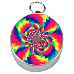 Colorful Psychedelic Art Background Silver Compasses by Amaryn4rt