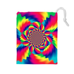 Colorful Psychedelic Art Background Drawstring Pouches (large)  by Amaryn4rt