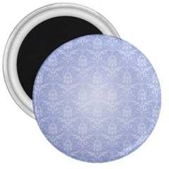 Damask Pattern Wallpaper Blue 3  Magnets by Amaryn4rt