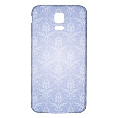 Damask Pattern Wallpaper Blue Samsung Galaxy S5 Back Case (white) by Amaryn4rt