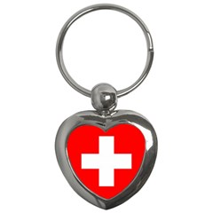Flag Of Switzerland Key Chains (heart)  by Amaryn4rt
