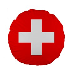Flag Of Switzerland Standard 15  Premium Flano Round Cushions by Amaryn4rt