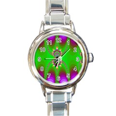 Green And Purple Fractal Round Italian Charm Watch by Amaryn4rt