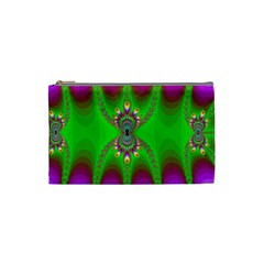 Green And Purple Fractal Cosmetic Bag (small)  by Amaryn4rt