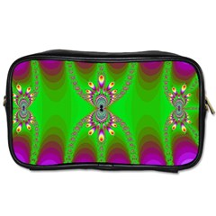 Green And Purple Fractal Toiletries Bags by Amaryn4rt