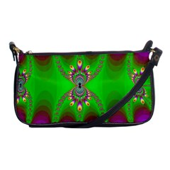 Green And Purple Fractal Shoulder Clutch Bags