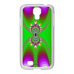 Green And Purple Fractal Samsung Galaxy S4 I9500/ I9505 Case (white) by Amaryn4rt