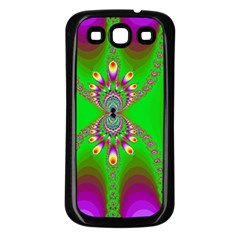 Green And Purple Fractal Samsung Galaxy S3 Back Case (black) by Amaryn4rt
