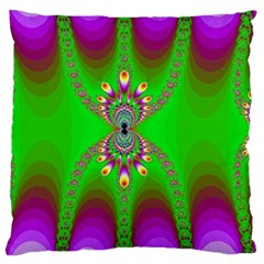 Green And Purple Fractal Large Flano Cushion Case (one Side) by Amaryn4rt