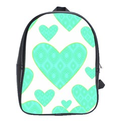Green Heart Pattern School Bags(large)