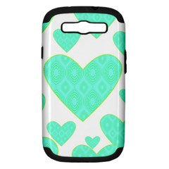 Green Heart Pattern Samsung Galaxy S Iii Hardshell Case (pc+silicone)
