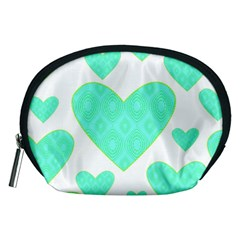 Green Heart Pattern Accessory Pouches (medium)  by Amaryn4rt
