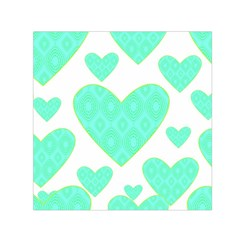 Green Heart Pattern Small Satin Scarf (square) by Amaryn4rt