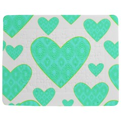 Green Heart Pattern Jigsaw Puzzle Photo Stand (rectangular) by Amaryn4rt