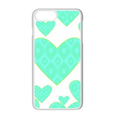 Green Heart Pattern Apple Iphone 7 Plus White Seamless Case by Amaryn4rt