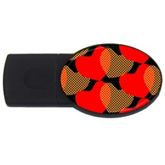 Heart Pattern Usb Flash Drive Oval (4 Gb) by Amaryn4rt
