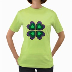 Light Blue Heart Images Women s Green T Shirt
