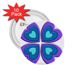 Light Blue Heart Images 2 25  Buttons (10 Pack)