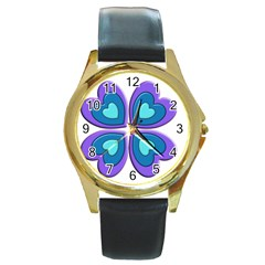 Light Blue Heart Images Round Gold Metal Watch by Amaryn4rt