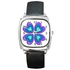 Light Blue Heart Images Square Metal Watch by Amaryn4rt
