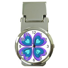 Light Blue Heart Images Money Clip Watches