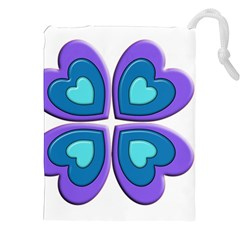 Light Blue Heart Images Drawstring Pouches (xxl) by Amaryn4rt