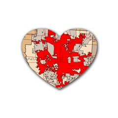 Map Of Franklin County Ohio Highlighting Columbus Heart Coaster (4 Pack)  by Amaryn4rt