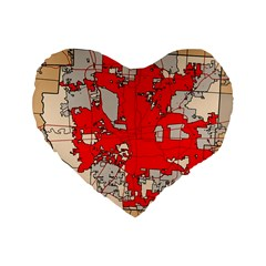 Map Of Franklin County Ohio Highlighting Columbus Standard 16  Premium Flano Heart Shape Cushions by Amaryn4rt