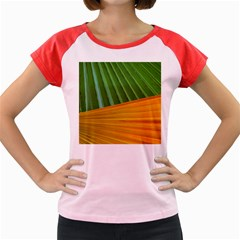 Pattern Colorful Palm Leaves Women s Cap Sleeve T Shirt