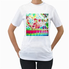 Pattern Decorated Schoolbus Tie Dye Women s T Shirt (white) (two Sided)
