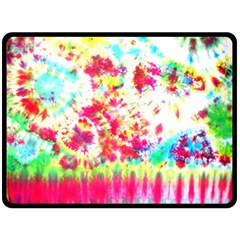 Pattern Decorated Schoolbus Tie Dye Double Sided Fleece Blanket (large)