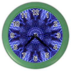 Tech Neon And Glow Backgrounds Psychedelic Art Color Wall Clocks by Amaryn4rt