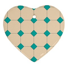 Tile Pattern Wallpaper Background Heart Ornament (two Sides) by Amaryn4rt