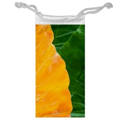 Wet Yellow And Green Leaves Abstract Pattern Jewelry Bag