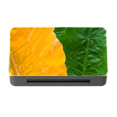 Wet Yellow And Green Leaves Abstract Pattern Memory Card Reader With Cf