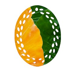 Wet Yellow And Green Leaves Abstract Pattern Ornament (oval Filigree) by Amaryn4rt