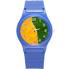 Wet Yellow And Green Leaves Abstract Pattern Round Plastic Sport Watch (s) by Amaryn4rt