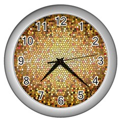 Yellow And Black Stained Glass Effect Wall Clocks (silver)  by Amaryn4rt