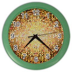 Yellow And Black Stained Glass Effect Color Wall Clocks by Amaryn4rt