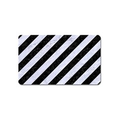 Stripes3 Black Marble & White Marble Magnet (name Card) by trendistuff