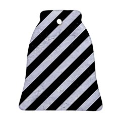 Stripes3 Black Marble & White Marble Bell Ornament (two Sides)