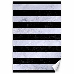 Stripes2 Black Marble & White Marble Canvas 20  X 30  by trendistuff