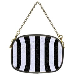Stripes1 Black Marble & White Marble Chain Purse (two Sides)