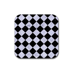 Square2 Black Marble & White Marble Rubber Coaster (square)