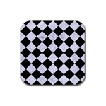 SQUARE2 BLACK MARBLE & WHITE MARBLE Rubber Coaster (Square) Front